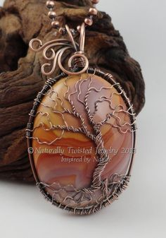 Antiqued Copper Tree of Life Wire Wrapped Pendant