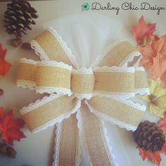 A part of the FALL JUBILEE collection this bow entitled AUTUMN FROST will add beautiful accents to your church pews chairs benches arches stairways and more!  These Burlap and Lace Pew Bows are the perfect rustic wedding decorations for your ceremony!  Only $9.95
