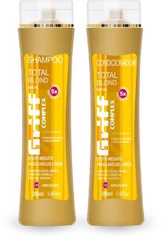 [Total Blond] Shampoo e Condicionador. Promove cor e vida para cabelos louros e o fim do efeito amarelado.Fortalece a estrutura e repara danos da superfície capilar. Não contém sal, e é elaborado com filtro solar. Sua fórmula apresenta extrato de violeta+extrato de camomila, ômega 6, creatina+queratina e complexo de 12 aminoácidos essenciais.