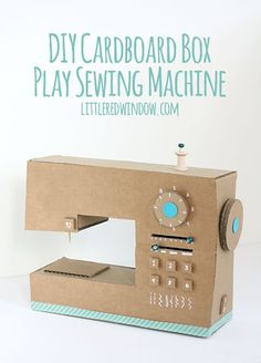 DIY Cardboard Box Play Sewing Machine |  littleredwindow.com | Great tutorial…
