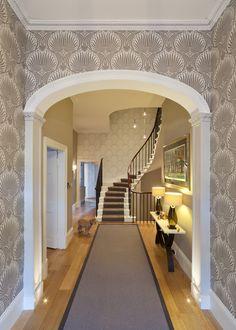 Helen Lucas Architects Edinburgh  wall paper, runner, stairwell, stairwell lights