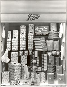 Tony Chatfielddr Whites  C2 B7 Boots Chemists Window Display From 1960s Showing Pads Tampons Belts And Sanitary Panties