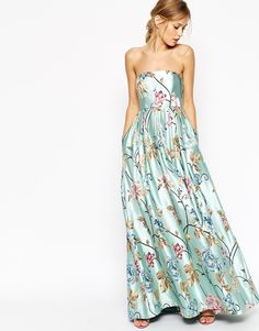 I need to wear this to my 25th Wedding Anniversary recommitment. With flowers in my hair! ASOS SALON Premium Beautiful Floral Jacquard Bandeau Maxi Dress