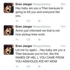 the last one... so funny.... oh my gawd.... I'm dying ~ Attack on Titan Eren
