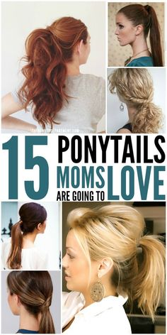 I love hair style ideas! These are super EASY Ponytails for Moms! Looking for cute ponytails to try? Tired of wearing the same ponytail every day? These ponytail variations are both cute and quick! Cute Ponytails, Simple Ponytails, Medium Hair Styles, Curly Hair Styles, Hair Medium, Casual Updos For Medium Hair, Love Hair, Hair Day, Hair Hacks