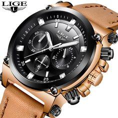 5aafdf0433d LIGE Mens Relógios Top Marca de Luxo Relogio masculino 24 Horas Projeto de  Discagem Grande Relógio de Quartzo De Couro Dos Homens Relógios Esportivos  Prova ...