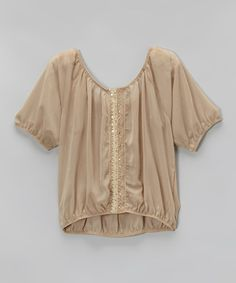 Look what I found on #zulily! Beige Lace Chiffon Peasant Top by Lori & Jane #zulilyfinds