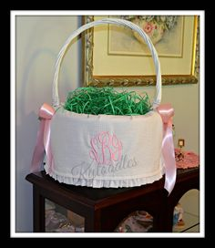 Easter Basket Extra Large custom liner in Seersucker. by Kytoodles