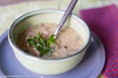 Healthy mushroom and white bean soup