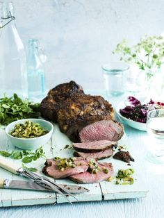 Spiced leg of butterflied lamb with preserved lemon dressing