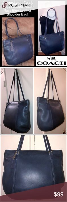 """VTG Coach Hinge Framed Pouch Leather Shoulder Bag! Vintage Large Coach Hinge Framed Pouch Navy Blue Leather Shoulder Bag! Features:100% authentic, made in US, brass hardware, black high quality leather, unlined, two int slip pockets, framed / hinged closure! Coach hang tag, creed & serial no. 9998 on inside. Measures 11"""" high X 16"""" across X 4"""" wide with 13"""" shoulder clearance. Very minor ext marks. Like new - Excellent condition. Offers welcomed. Coach Bags"""