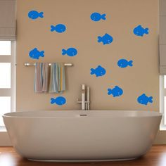 Fish Bathroom Wall Stickers by Mirrorin on HeartThis