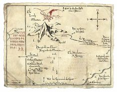 Feast your eyes on this beautiful treasure map from The Hobbit: An Unexpected Journey. It's a recreation of Thorin Oakenshield's map that helped guide his dwarves and Bilbo Baggins to reclaim the dwarves' treasure back from Smaug, the greedy dragon. Jrr Tolkien, Tolkien Tattoo, Lotr, The Hobbit Map, Dcc Rpg, Hobbit Party, Middle Earth Map, Dragons Of Middle Earth, John Howe