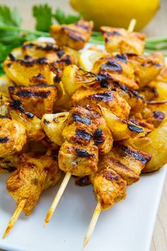 Moroccan Grilled Chicken Kabobs ~ Tasty grilled skewered chicken marinated in a Moroccan style spice blend. Use garlic olive oil and nix garlic for low FODMAP Grilled Chicken Kabobs, Chicken Kabob Recipes, Grilling Recipes, Lunch Recipes, Cooking Recipes, Healthy Recipes, Chicken Skewers, Bonless Chicken Recipes, Chicken Kabob Marinade