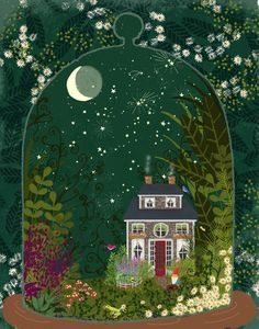 [orginial_title] – Mum🌿 Mystical Terrarium no. 1 Mystical Terrarium no. 1 by Joy Laforme Art And Illustration, Pretty Art, Cute Art, Vegetal Concept, Painting Inspiration, Art Inspo, Terrarium, Fantasy Art, Art Drawings