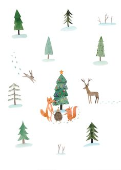 Illustration by Toma Kurkova  #watercolor #tree #forest #christmas