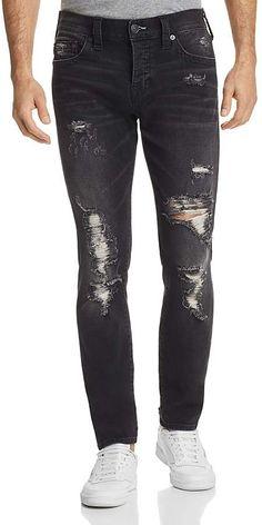 True Religion Rocco Skinny Fit Jeans in Dark Streets Men - Bloomingdale's Skinny Fit Jeans, Slim Jeans, Black Jeans Men, Casual Wear For Men, True Religion, Distressed Jeans, What To Wear, Dark, Fitness