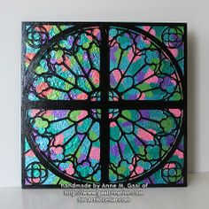Faux Stained Glass Window Covering | Reims Cathedral Window Mixed Media Panel by Anne Gaal of Gaal Creative ...