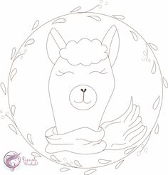 Risco para bordado livre Lhama da Caseando Felicidade Nail String Art, Wreath Drawing, Punch Needle Patterns, My Spirit Animal, Embroidery Patterns, Art For Kids, Coloring Pages, Needlework, Stencils