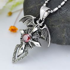 0.43$  Buy here - Hot New Stylish Fashion Cross Man Crystal Dragon Wing Titanium Steel Vintage Pendant Cross Pendant Necklace Jewelry Gift   #aliexpress
