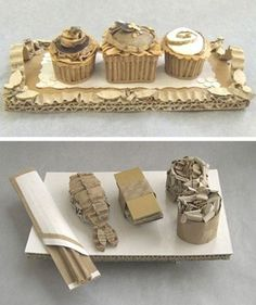 "- English artist Patianne Stevenson has devised a series of ""sculptures"" of desserts from a very different ingredient: Cardboard. Sculpture Lessons, Food Sculpture, Cardboard Sculpture, Sculptures, Sculpture Projects, Pop Art Party, Cardboard Box Crafts, Cardboard Relief, Elements Of Art"