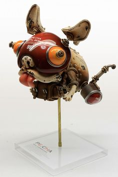 Artists on Steampunk Tendencies Michihiro Matsuoka (French Buldog) Steampunk Kunst, Steampunk Robots, Toy Art, Level Design, Grand Art, Arte Robot, Junk Art, Assemblage Art, Designer Toys