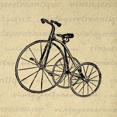 Antique Tricycle Bike Graphic Image Download Bicycle Digital Illustration Printable Artwork Vintage Clip Art. High resolution digital image graphic for transfers, printing, and more. Real vintage clip art. For personal or commercial use. This image is high quality and high resolution at size 8½ x 11 inches. Transparent background version included with all images.