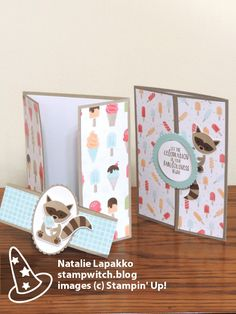 Gatefold cards by Natalie Lapakko with Foxy Friends stamps and Tasty Treats DSP from Stampin' Up!