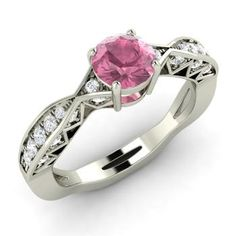 Round Pink Tourmaline  and Diamond  Sidestone Ring in 14k White Gold