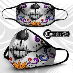 Sugar Skull Face Mask · CanacheShop · Online Store Powered by Storenvy Sugar Skull Face, Skull Face Mask, Mascaras Halloween, Halloween Masks, Diy Mask, Diy Face Mask, Face Masks, Mouth Mask Fashion, Day Of The Dead Skull