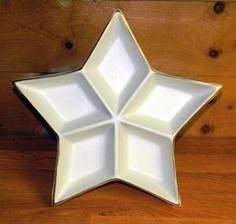 Star Shaped Divided Snack Bowl Dish White Hand Painted Gold Trim Candy Snacks Christmas Cookies Holiday CrabbyCats Crabby Cats - pinned by pin4etsy.com