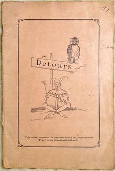 Underwood Typewriter Company Detours Typewriting Manual Book 1927 Copyright
