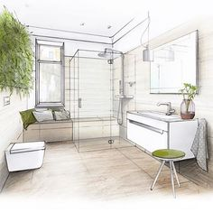 nature inspired bathroom #arch_more #archilovers #arqsketch #arquisemteta #arquitetapage #architecture #bathdesign #burgbad #engerskeramik #interiør #interior #interiordesign #sketch_arq #papodearquiteto