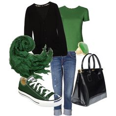 love all these pieces except the purse. May not wear all these greens together, but would love to have all these pieces in my closet.