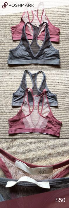 """Bundle of Organic Pima Cotton Bras Luxuriously comfortable pima cotton & spandex sports bras. Beautiful as a crop top for yoga or dance etc! The smallest size these fit is a 36C/D and they have a lot of stretch so could go a few sizes up from that. Like new condition, I just never wore them. Beautiful dusty rose and dark silver gray. Brand is """"Skin"""". Anthropologie Intimates & Sleepwear Bras"""