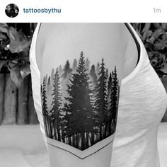 watercolor pines tattoo