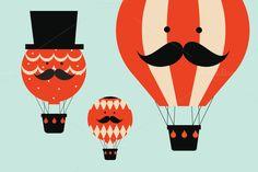 hot air balloon people vector by lyeyee on @creativemarket