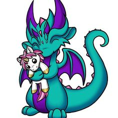 'Dragon with Unicorn Plushie' Sticker by Rebecca Golins Dragon Unicorn Tattoo, Baby Dragon Tattoos, Unicorn Tattoos, Cool Dragon Drawings, Dragon Sketch, Dragon Artwork, Cartoon Drawings, Animal Drawings, Cartoon Art