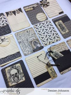 Use your scraps to make Halloween journaling tags! What a genius idea from Denise Johnson #graphic45 #halloween