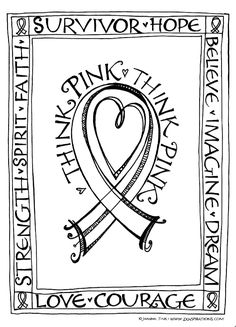Zenspirations - BLOG - Think Pink! Free Downloadable Coloring & Card Pages in honor of Breast Cancer Awareness. Please share!