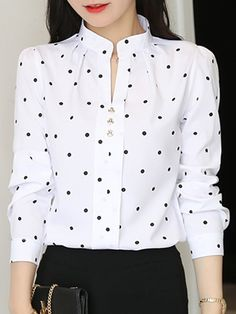 V Neck Dot Long Sleeve Blouse Wholesale Clothing Online Store. We Offer Top Good Quality Cheap Clothes For Women And Men Clothing Wholesaler, Get Affordable Clothing At Worldwide. Blouse Styles, Blouse Designs, Short Sleeve Collared Shirts, Sleeveless Denim Dress, Kurti Designs Party Wear, Shirt Blouses, Blouses For Women, Shirt Style, Long Sleeve