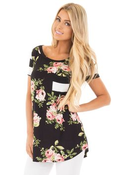 Black Top with Striped Contrast and Blush and Sage Floral Print