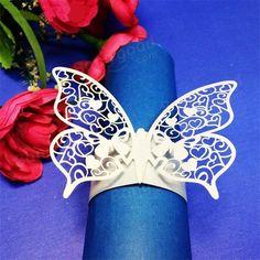Servilleteros láser de corte de forma de mariposa para cenas mesas de almuerzo…
