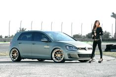 VW girl VW GTI MK7 custom wrapped in 3M, Rotiform wheels, Nitto Invo Tires, BC lowering springs Fit Automotive Sarasota and Fort Myers Location.