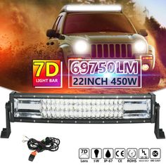 7D 22 INCH 450W OSRAM CURVED LED LIGHT BAR FLOOD SPOT COMBO CAR WORK OFFROAD 20