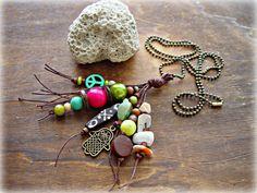 Boho Necklace - Hippie Necklace - Boho Tassel Necklace - Boho Turquoise Necklace - Boho Jewelry - African Necklace -  Hippie Necklace