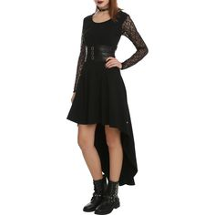 Royal Bones By Tripp Black Lace Sleeve Salem Dress ($30) ❤ liked on Polyvore featuring plus size women's fashion, plus size clothing, plus size dresses, dresses, black, hi lo dress, short in front long in back dress, lace sleeve skater dress, zip back dress and high low dresses