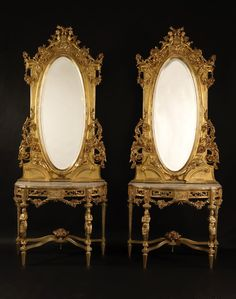 A Fine and Decorative Pair of Carved Giltwood Console Tables and Mirrors French, Circa 1890.