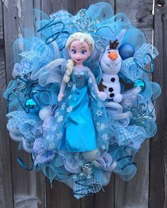 2014 Halloween Frozen Wreath with Olaf - 2014 Halloween Disney Ribbon, Mesh Room Decoration #Halloween #Frozen #2014