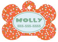 Personalized Confetti Pet Tag (Spring Time Design 8) with Toon Font